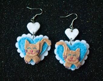 Kitty Lover Heart Earrings