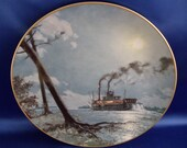 "ON SALE....John Stobart ""Moonlight over the Mississippi"" Collector Plate"