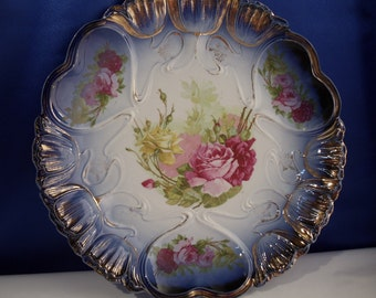 ON SALE..Vintage IPF Germany Cobalt Plate - Pink/Yellow Roses