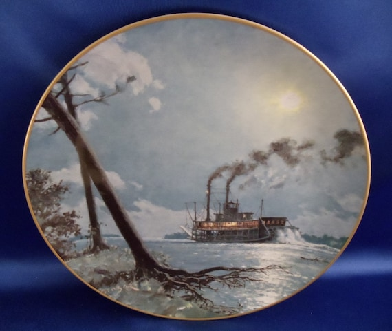"""ON SALE....John Stobart """"Moonlight over the Mississippi"""" Collector Plate"""