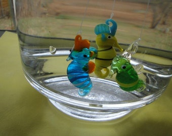 Floating Glass Sea Horses Three Pack