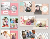 INSTANT DOWNLOAD Happy HUGS Valentines 5x7 Card Templates for professional Photographers