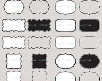 INSTANT DOWNLOAD digital CLiP ArT set of 24 classic & decorative frame label shapes - for photography scrapbook logos