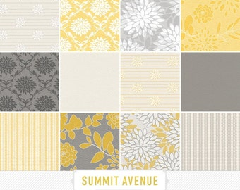 INSTANT DOWNLOAD digital scrapbook paper pack - 13 mustard & grey garden damask designs