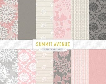 INSTANT DOWNLOAD digital scrapbook paper pack - 13 Pink & Grey garden damask designs
