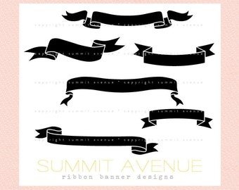 ribbon & banner silhouettes digital clip art - for photography scrapbook logos or wedding or invitations - Instant Download