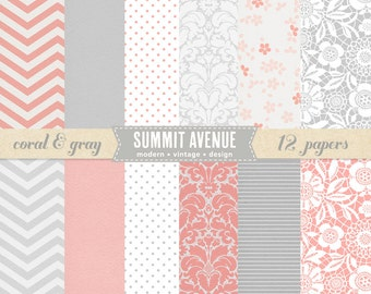 INSTANT DOWNLOAD Coral and Gray digital scrapbook paper pack & patterns - for personal or photography use