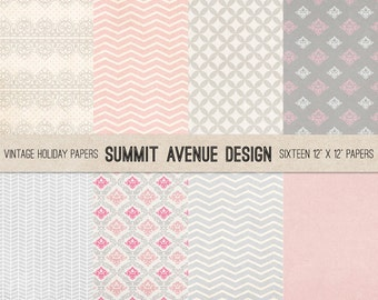 Pink & Gray Modern Digital Papers - Photographer or small Personal use