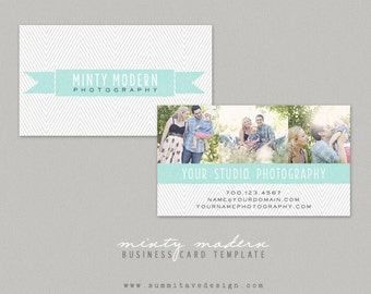 INSTANT DOWNLOAD Business Card design template - Modern Minty by Summit Avenue