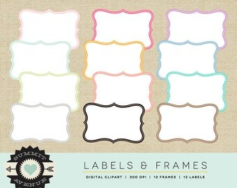 INSTANT DOWNLOAD Labels & Frames digital Clip Art -  frame shapes for photography, scrapbooking, logos - commercial use OK