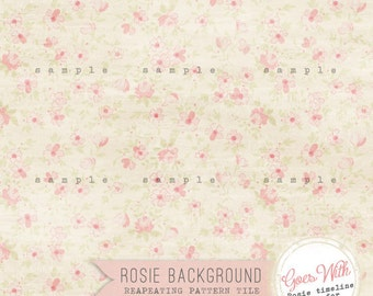 instant download Shabby Rosie Blog / website background - vintage seamless repeating tile