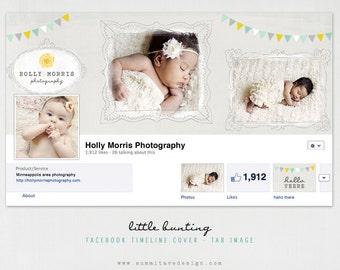 Facebook Timeline Cover & tab button design - Little Bunting by Summit Avenue - Instant Download