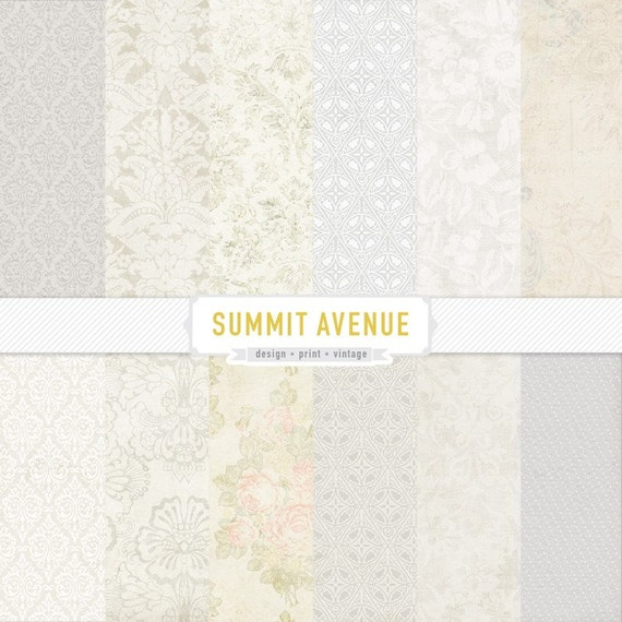 scrapbooking - digital scrapbook paper pack & patterns - 12 vintage - white washed designs - for personal or photography use