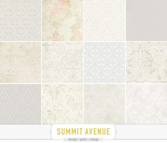 photography / personal Use - digital scrapbook paper pack & patterns - 12 vintage - white washed designs