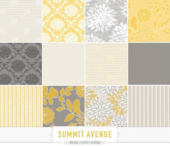 INSTANT DOWNLOAD digital scrapbook paper pack - 13 mustard & grey garden damask designs