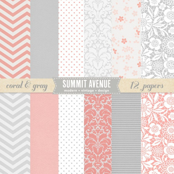 digital scrapbook paper pack - 12 coral & gray modern designs Personal or Photographer Use