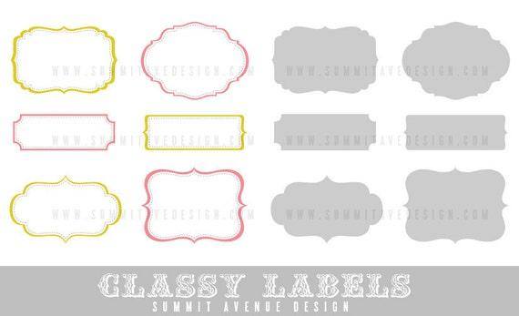 INSTANT DOWNLOAD CLaSSY designer LaBELS digital Clip Art -  frame shapes for photography, scrapbooking & logos