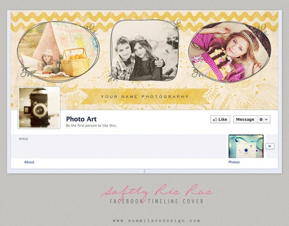 INSTANT DOWNLOAD Facebook Timeline Cover design - Softly Ric Rac by Summit Avenue