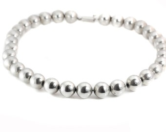 Mexican Sterling Silver Large Bead Necklace
