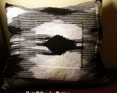 20 X 15 inch black & white hand knit pillow