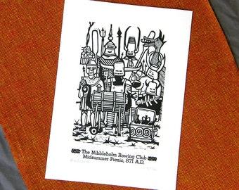 "Woodblock and Letterpress Print: ""Nibbleholm Rowing Club"""