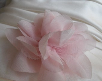 TOP SELLER, Pink Flower, Baby Pink Brooch, 5inch Flower, Silk  Chiffon Applique