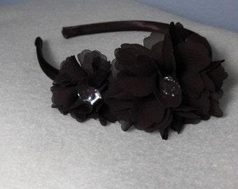 Cute Flower Brown Headband,Jewel headband,satin headband,vintage headband,Chocolate Brown headband