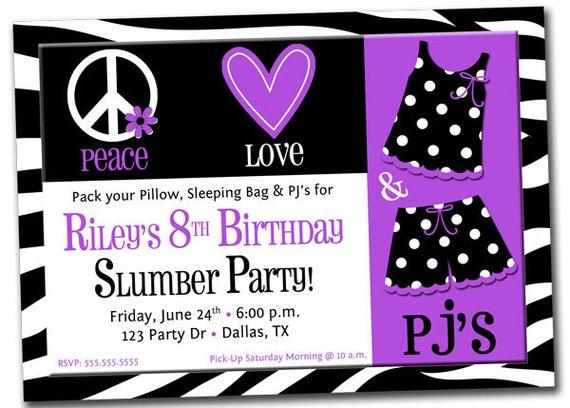 Slumber Party Invitation Ideas with adorable invitation sample