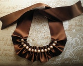 SALE 30% Ribbon necklace, ribbon and pearl neclace