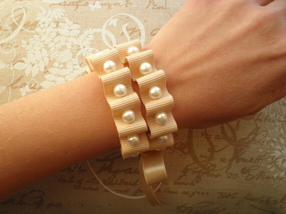Pearl bracelet - necklace, with ivory ribbon (SPECIAL PRICE)