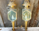 Two Hand Made 1800's Carriage Lanterns or Coach Lamps of Brass and Beveled Glass