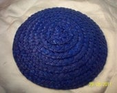 Deep Blue Round Straw Millinery Hat Base.