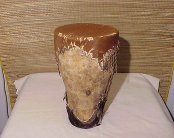 Early Vintage Tribal Indian Drum Stretched Cow Hide & Wood