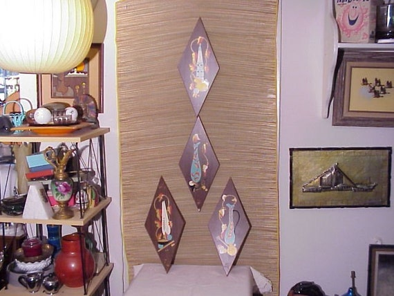 Vintage Retro Wood 1950's Wall ART Plaque Set Hand Painted