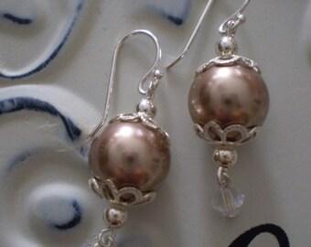 Bronze Swarovski Pearl Dangle Earrings