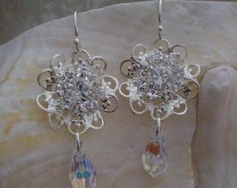 Filigree Swarovski Crystal Earrings