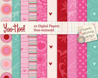 Red & Pink Digital Paper, Valentines Paper, love hearts patterns, turquoise backgrounds for wedding invitations, valentine cards, scrapbooks