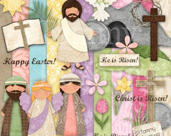 Religious easter printable for kids christian easter stickers easter clip art for kids easter digital papers religious christian easter for greeting cards negle Choice Image