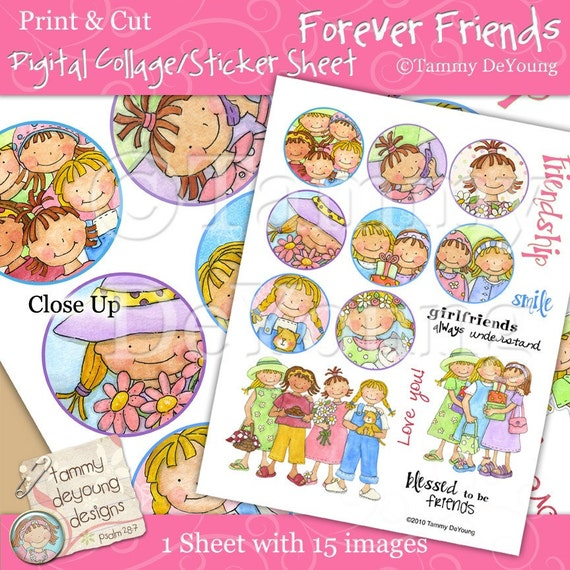 """Best Friends Forever Stickers Printable and Digital Collage sheet for Cupcake Toppers 2"""" circles, stamps, girlfriends"""
