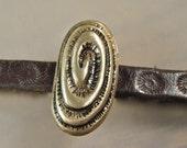 elongated Spiral / handmade bronze and silver slide bead