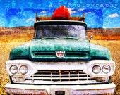 Vintage Rustic Ford Truck Kayak Built Ford Tough Blue Green Gravel Road Desert Blue Sky Textured Travel Photography