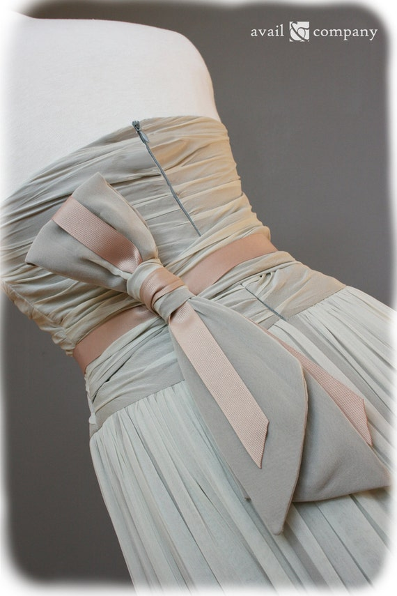 Gray Wedding Dress Pink Bow, Custom Made in your size - Jessica Style