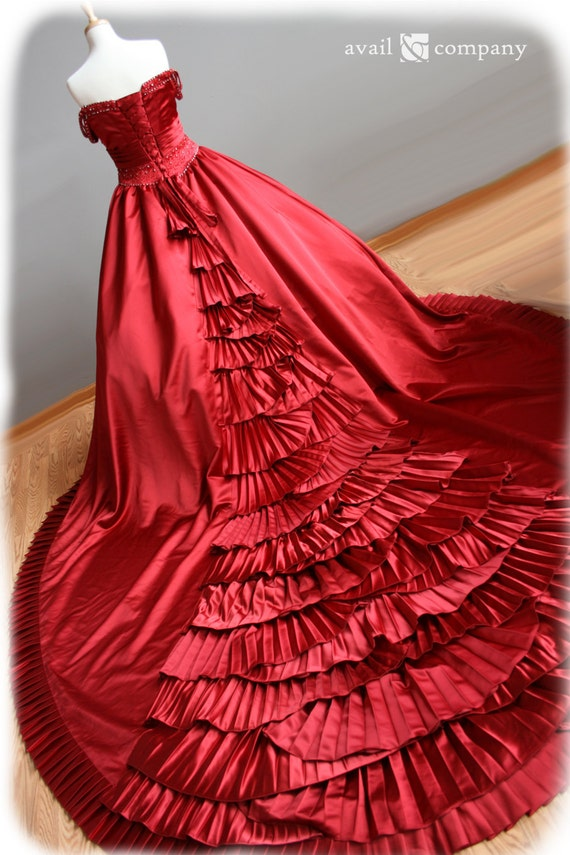 Red Wedding Dress Ball Gown Style with Pleats and Crystal Beading Irish or Scottish Wedding , Custom Made in your size - Audra Style