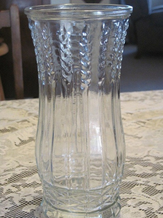 Vintage Eo Brody Company Glass Vase With Wheat Pattern