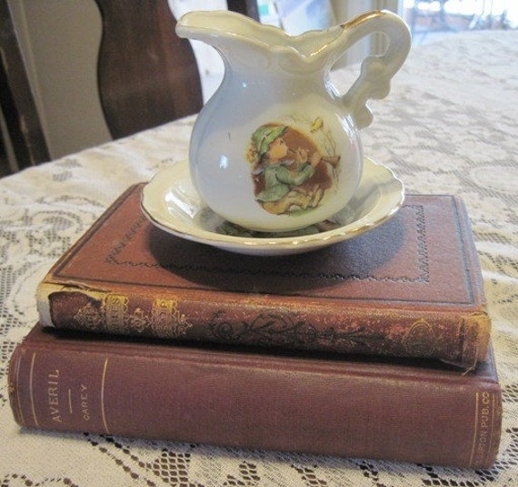 Vintage Miniature Pitcher and Basin with Boy Blowing Horn