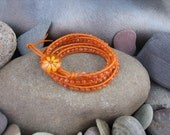 Orange Carnelian Four Wrap Bracelet