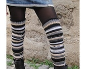 Over Knee High Leg Warmers Black White Beige Grey Socks