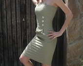 Cream Spotted Green Strapless Dress Cotton