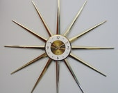 Vintage Starburst Wall Clock   Sunburst Atomic Modernist Spike Mod Mid-Century Modern - Proud Treasury Pick