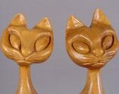 Mid Century Modern Siamese Cat Sculptures. Hand-Carved Teak.